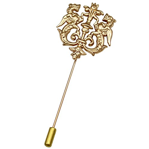 Q&Q Fashion Gold Men Double Rampant Winged Lion Crown Lapel Stick Pin Tie Hat Scarf Badge Brooch - Brooch Crown Pin Jewelry