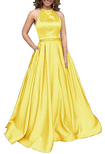 Women's Halter A-line Beaded Satin Evening Prom Dress Long Formal Gown with Pockets Size 12 -