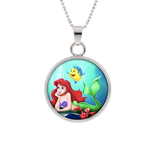 Little Mermaid Disney Pendant Necklace TV Comics Movies Cartoons Superhero Logo Theme Premium Quality Detailed Cosplay Jewelry Gift Series ()