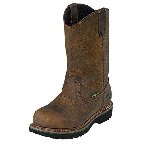 Men's John Deere Steel Toe Waterproof Wellington Boots Dark Brown, DARK BROWN, 8.5W (John Deere Wellington Boots Mens)