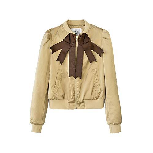 Dabuwawa Bow Tie Casual Jacket for for Girls Fashion New Elegant Short Outwear Jackets X-Large Khaki from Dabuwawa