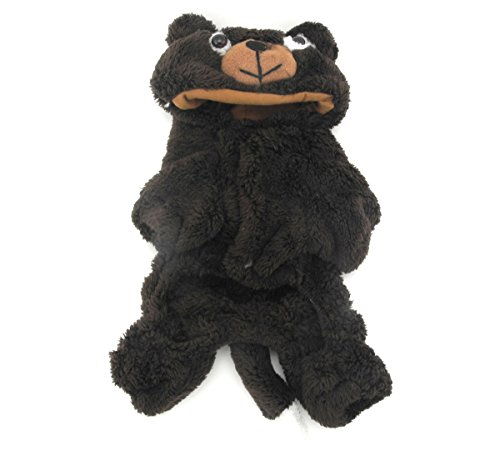 Dogs In Bear Costumes (SMALLLEE_LUCKY_STORE Petmall Dog Cat Clothes Warm Coral Velvet Bear Halloween Dress Up Costume, Medium, Coffee)