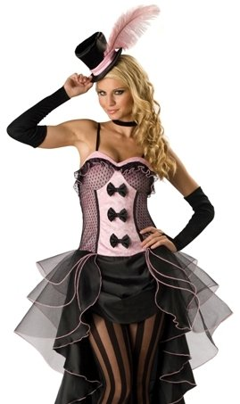 Halloween Sexy Can Can Saloon Girl Magician Costume