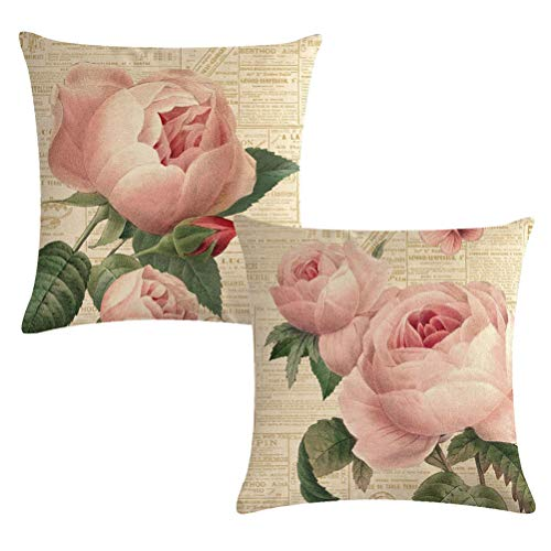 (7COLORROOM Decorative Romantic Rose Flower Pillow Cover Vintage Shabby Chic Peach Pink Rose Floral Cushion Cover Square Cotton Linen Pillowcase for Sofa Bedroom Car 18x18 Inch Set of 2 (Pink Rose))