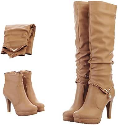 Mostrin Winter Sexy Women Soft Leather Knee High Boots Two Ways Wear Platform Cone Heel Long Boots