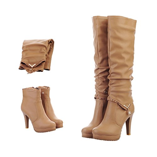 Mostrin Winter Sexy Women Soft Leather Knee High Boots Two Ways Wear Platform Cone Heel Long Boots Apricot