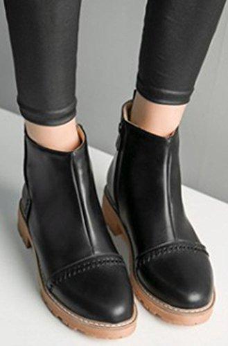 Idifu Femmes Mode Zip Up Bout Rond Mi-chunky Martin Cheville Bottes Noir