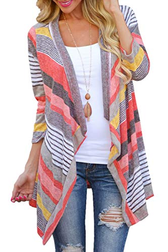Women's 3/4 Sleeve Cardigans Striped Printed Open Front Knit Draped Kimono Loose Cardigan Red - Striped Asymmetrical Sweater