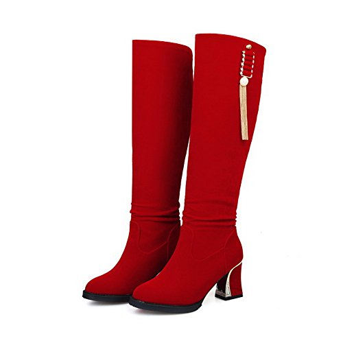 on Suede top Red Heels Kitten Women's Boots Closed Pull Round Toe Imitated Allhqfashion High zEPAxw