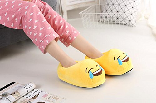 Tear House Emoji Plush Slippers Fluffy Unisex Shoes Laugh YINGGG to wqUzX45xa