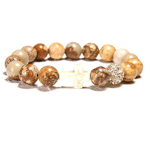 MOON GIRL Stretchy 10MM Jasper Agate Stone Pave Ball Cross Elastic Bracelet Beaded Boho Chic Yoga Bracelets Femme (7.5, jasper)