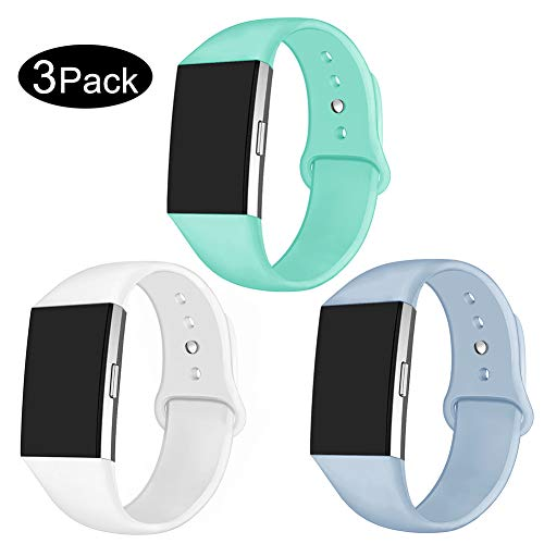 GHIJKL Sports Band Compatible Charge 2, Soft Silicone Replacement Wristband for Charge 2,Women Men,Small, 3 Packs, Teal, Light Blue, White