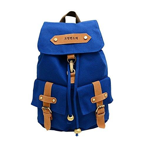 Eforstore Cool New Korea Vintage Canvas Backpack Shoulder School Satchel Bag Travel Rucksack Schoolbag for Teen Girls Boys Kids Teens Students Young Women Men (Light Blue)