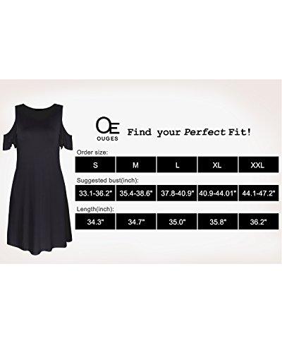 Summer Shoulder Sleeves Black Dress Women's Cold OUGES Ruffle wX8EqIg