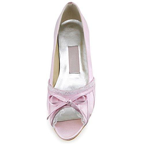 Minitoo GYMZ683 Womens Peep Toe Satin Evening Party Prom Bridal Wedding Shoes Pumps Sandals Flatfs Pink-3cm Heel sBz9z