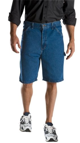 Blue Summer Shorts (Dickies Men's 9 1/2 Inch Inseam Relaxed Fit Carpenter Short, Stone Washed Indigo Blue, 38)