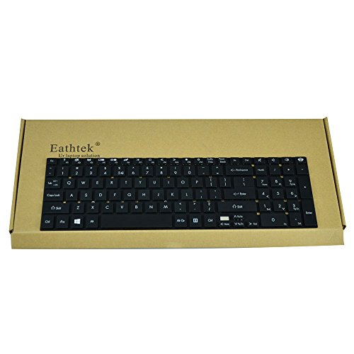 Eathtek Replacement Keyboard for Gateway NV55S NV57H NV75S NV77H NV55S02u NV55S03u NV56R NV56R04U NV56R06U NV56R10U NV56R11U NV56R12U NV56R14U NV56R21U NV56R22U NV56R23U NV57H26U NV57H43U NV57H48U NV57H50U NV57H58U NV57H73U NV57H77U NV57H96U NV75S NV75S02H NV75S03H NV75S05H NV75S06H NV75S25H NV77H NV77H03U NV77H04U NV77H05U NV77H06U NV77H08U NV77H18U NV77H19U NV77H20 Series Black US Layout, Compatible with part number PK130HQ3A00 V121702AS1 PK130HQ1A00 109A300BD (Nv77h Laptop)