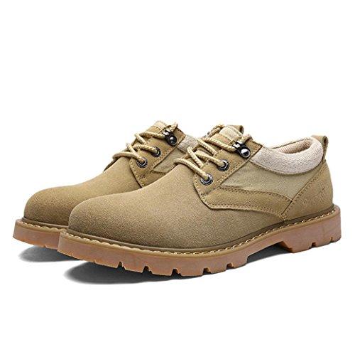 Heart&M casual gamuza único grueso corte bajo cuero calzado trabajo zapatos de hombre Khaki