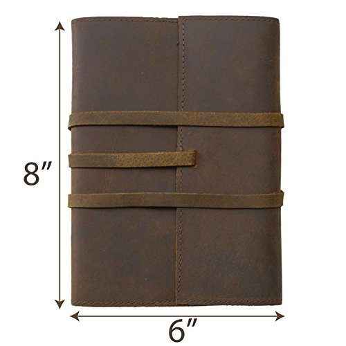 Niv Pocket Thin (REFILLABLE LEATHER JOURNAL  Large 8 by 6 Pen holder and Pouches   A5 Writing Notebook Lay Flat   Handmade Genuine Brown Leather Bound Diary Scrapbook for Men & Women   Travelers Notebook)