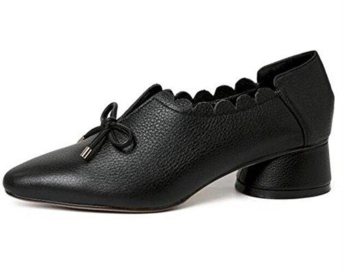 arco del Black a 35 Zapatos Cerrado de Toe o Mocasines de genuina Cuello mujer plano piel flor 39 Tama AA7UaZxwPq