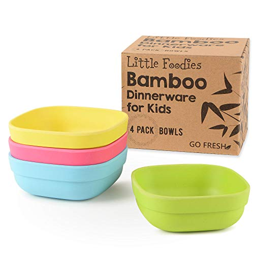 GO FRESH Bamboo Kids Bowls, Set of 4 kids bamboo dinnerware for everyday use, Eco-friendly kids bamboo bowls, BPA Free, Dishwasher safe and Stackable by GO FRESH