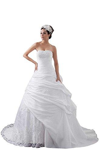 Angel Formal Dresses Lace Appliques Sleeveless Pick Ups Wedding Dress(14,White)