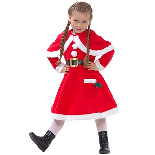 Girls Mrs Claus Costume Santas Little Helper Kids Miss Christmas Dress Outfit – Small (Age 3-5) -