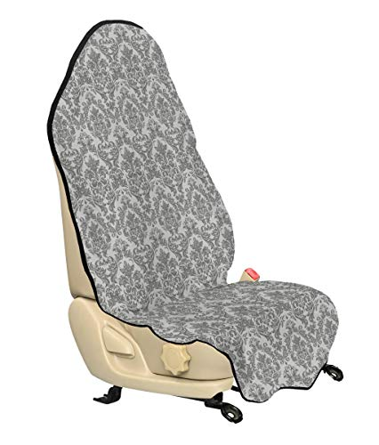 Lunarable Damask Car Seat Cover, Baroque Style Leaf Blossoming Pattern Flowery Artful Design Curves Ornamental Artwork, Car Truck Seat Cover Protector Nonslip Backing Universal Fit, Gray