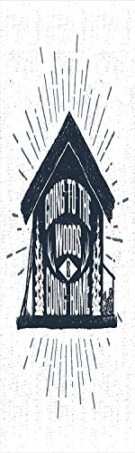 Cabin Decor 3D Decorative Film Privacy Window Film No Glue,Frosted Film Decorative,Retro Style Hand Drawn Label with Wooden Cabin Chalet Quote Hipster Lodge,for Home&Office,17.7x59Inch Black White Gre
