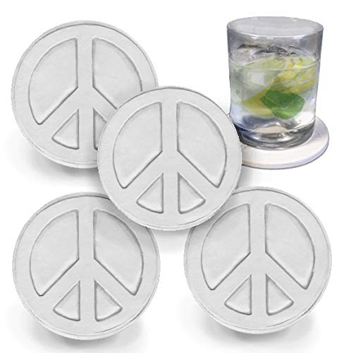 Peace Sign Drink Coasters by McCarter Coasters, Absorbent, Light Beige 4.25 inch (4pc)