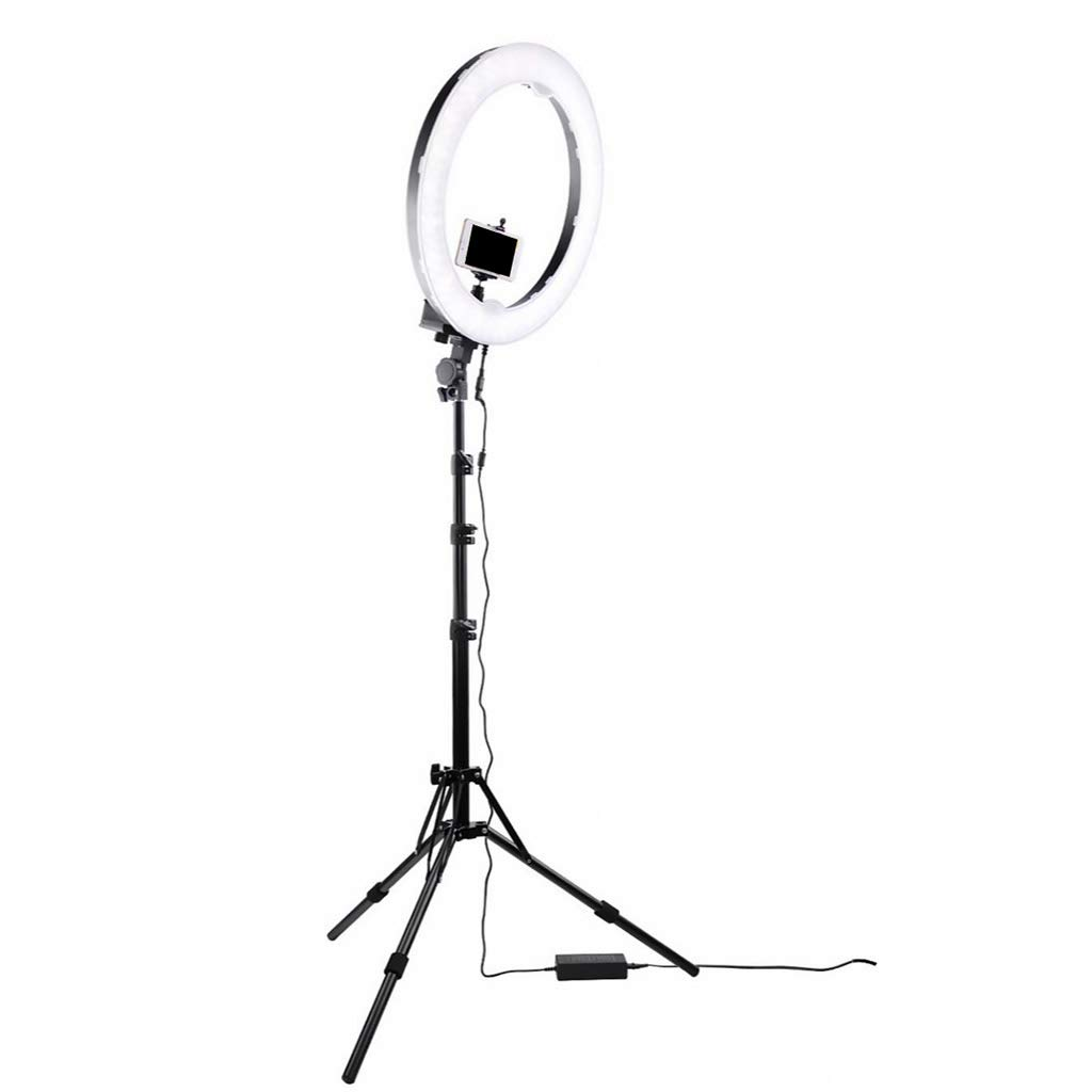 ライブストリームメイク動画撮影用スタンドと電話ホルダー照明キットリングライトオンライン二色温度美容フィルライトチャット 24inch  B07MKC81P6