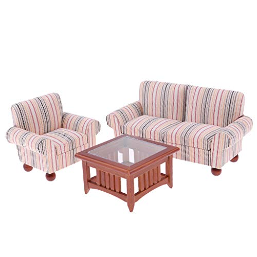Brosco 1:12 Pink Wooden Simple Couch Sofa Table Set Dollhouse Miniature Furniture ()