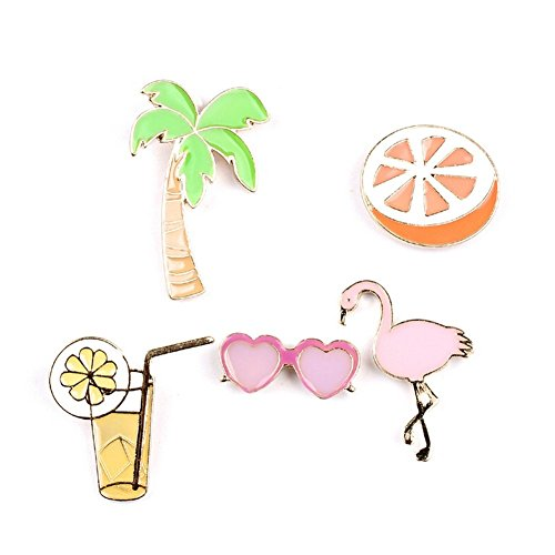 (OAONNEA Enamel Holiday Sets Fruit Orange Juice Palm Tree Flamingo Lapel Brooch Pin Badge for Women Jewelry)