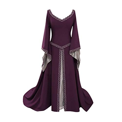 CCOOfhhc Vintage Dress-Women's Renaissance Medieval Dress Trumpet Sleeves Gothic Retro Gown Cosplay Halloween Costume for Women Purple]()