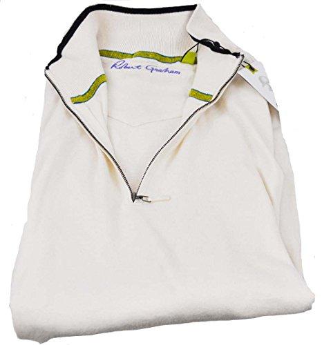 robert-graham-mens-xxxxl-ivory-long-sleeve-1-4-zip-pullover-sweater