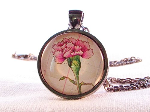 January Birthday (January Birthday Month Flower Carnation Necklace Round Glass Pendant)