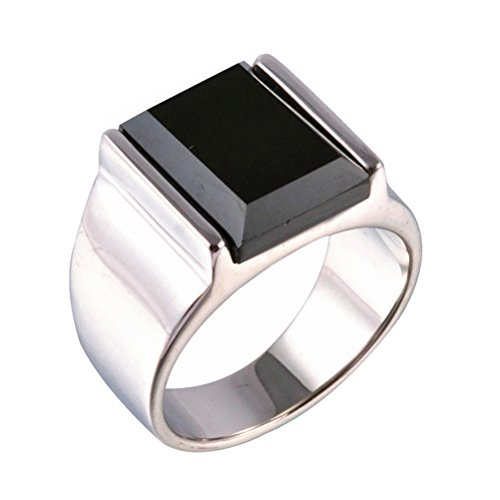 PAURO Men's Stainless Steel Black Onyx Rings Silver Vintage Size 10