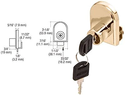 CRL Gold Plated Cabinet Lock for Hinged Glass Doors - Keyed Alike