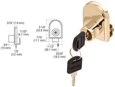 CRL Gold Plated Cabinet Lock for Hinged Glass Doors - Keyed Alike by C.R. Laurence