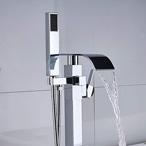 Votamuta Single Lever Bathroom Floor Mounted Tub Filler Faucet Waterfall Spout One Handle Bathtub Shower Mixer Tap with Hand Sprayer (001)