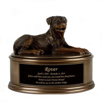 Perfect Memorials Custom Engraved Rottweiler Figurine Cremation Urn