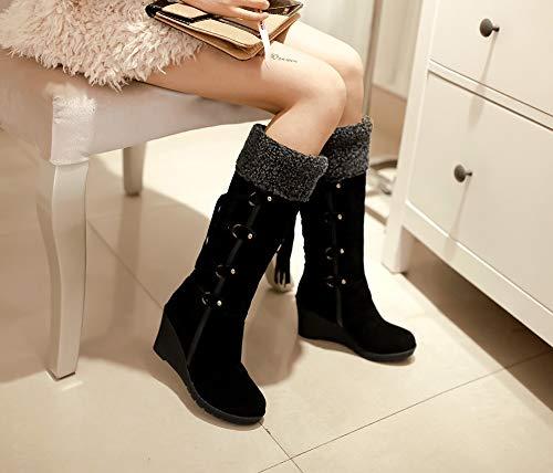 7cm Kaki Large Slip Compenses Chaussures Hauteur Brun Fourrure 43 Bottines Plateforme De Noir Femme Bottes Tassel Chaude Suede Doubl Genou Hiver On Ladies Neige 34 Yaw1qxTR6