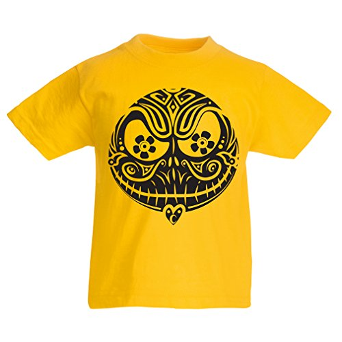 T shirts for kids The Skull Face -The nightmare - scary Halloween night (12-13 years Yellow Multi Color)