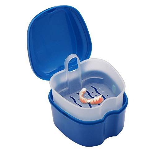 Denture Case Denture Cup with Strainer Denture, Bath Cleaning Soaking Cup False Teeth Storage Box with Basket Net Container Holder for Travel, Retainer Cleaning