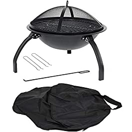 HH Home Hut Large Fire Pit Steel Folding Outdoor Garden Patio Heater Grill Camping Bowl BBQ With Poker, Grate, Grill…