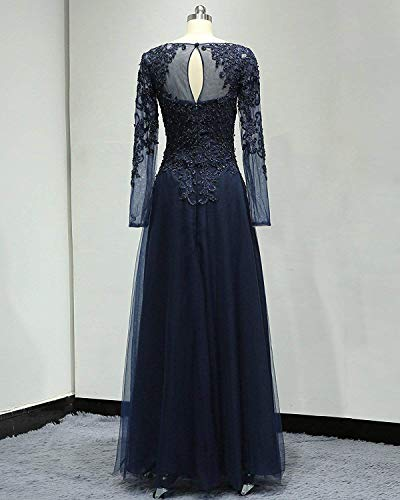 b49b6d5e268 ... Tulle Appliques Mother of The Bride Dresses Long Sleeves Formal Gowns  and Evening Dresses Floor Length.   