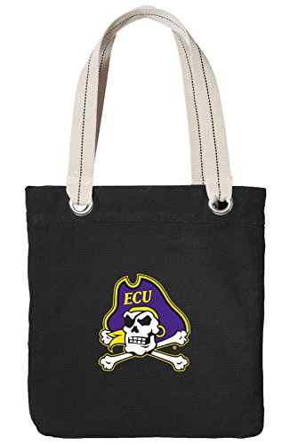 East Carolina University Tote Bag Rich Cotton Canvas ECU Bags Black