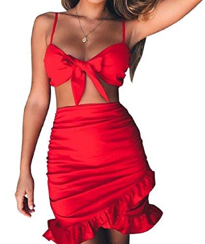 Coolred-femmes Plage 2 Pièces Wrap Silm Flouncing Robes De Fronde Salut-taille Loisir Rouge
