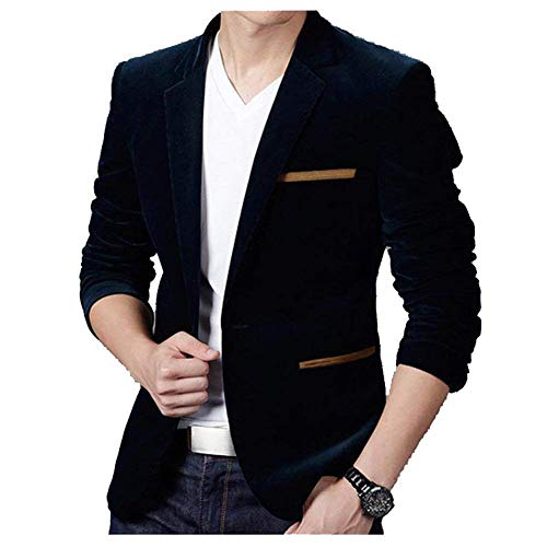 Men lannister E Abbigliamento Stile Velluto Formale Fit Giacche One Casual Pocket Uomo Blazer Qk Button Business Stylish Leisure Slim Suit Blau HdwqW