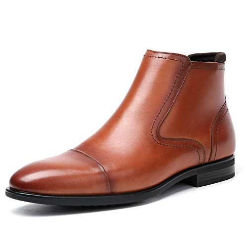 Cestfini Men Leather Chelsea Boots with Zipper - Formal Dress Boots with Cap Toe for Men, Outdoor Slip On Ankle Boots